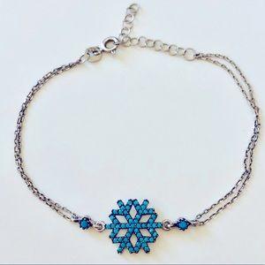 ❄️Silver bracelet elsa snowflake blue turquoise